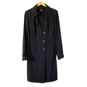 AKRIS Wool Trench Coat Asymmetrical Button Front